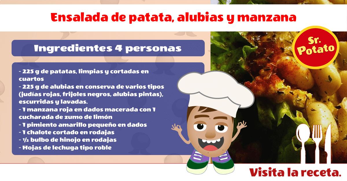 Ensalada De Patatas, Alubias Y Manzanas Al Estilo Sr. Potato