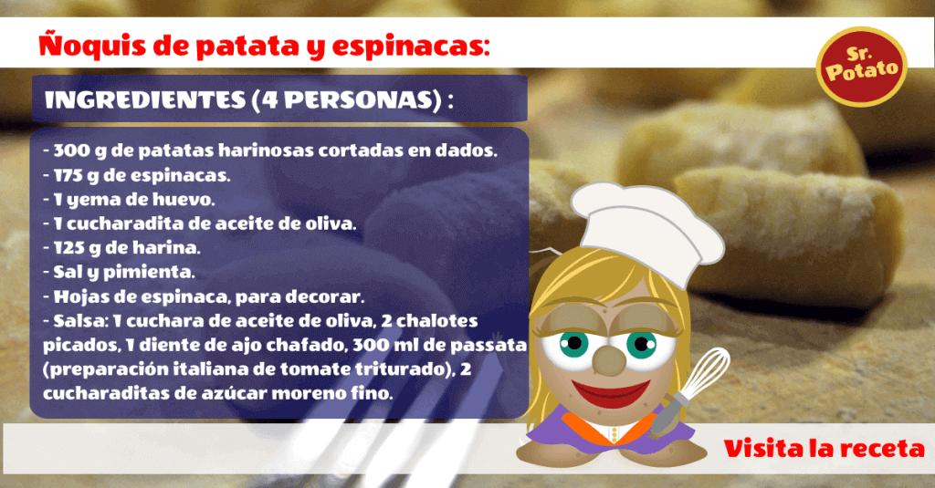 Receta ñoquis Patata Y Espinacas