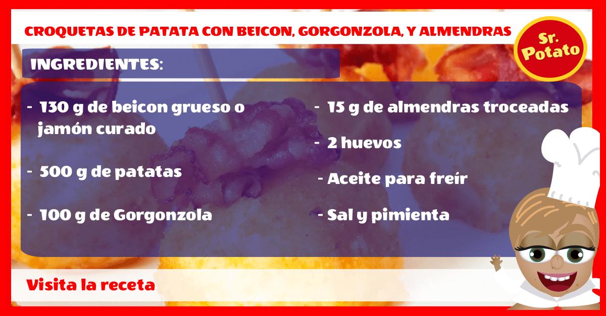 Receta Croquetas De Patata Con Beicon, Gorgonzola Y Almendras